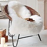 Tongfushop Faux Fur Sheepskin Style Rug 60 x 90 cm Fluffy Area Rugs Anti-Skid Yoga Carpet For Living Room Bedroom Sofa Floor Rugs (White, 60 x 90 cm)