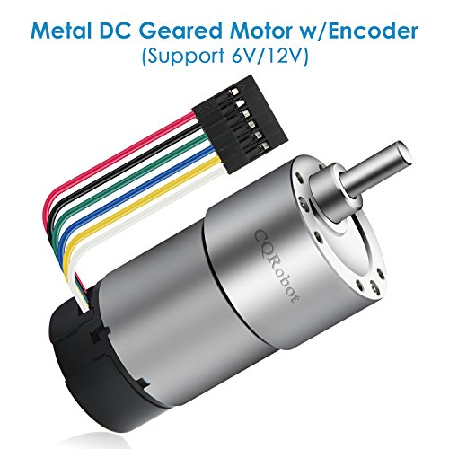 Metal DC Geared Motor w/Encoder, Support DC 6V 61rpm 18kg.cm