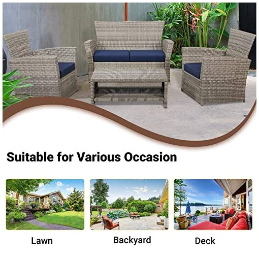 Garden and Outdoor Laurel Canyon Outdoor Patio Furniture 4 Piece Wicker Conversation Sets, Rattan Loveseat and 2 Chairs with Cushions… patio furniture sets