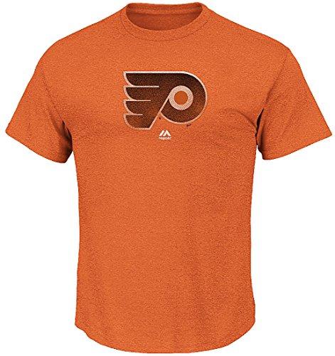 Majestic Philadelphia Flyers Mens Heather Orange Raise The Level Tee Shirt by (X-Large)