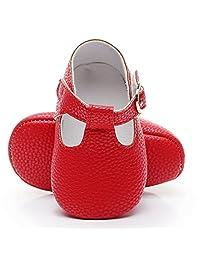 HONGTEYA Baby Girls Boys T-Strap Moccasins - Newborn First Walker Mary Jane PU Soft Soled Sandals Shoes