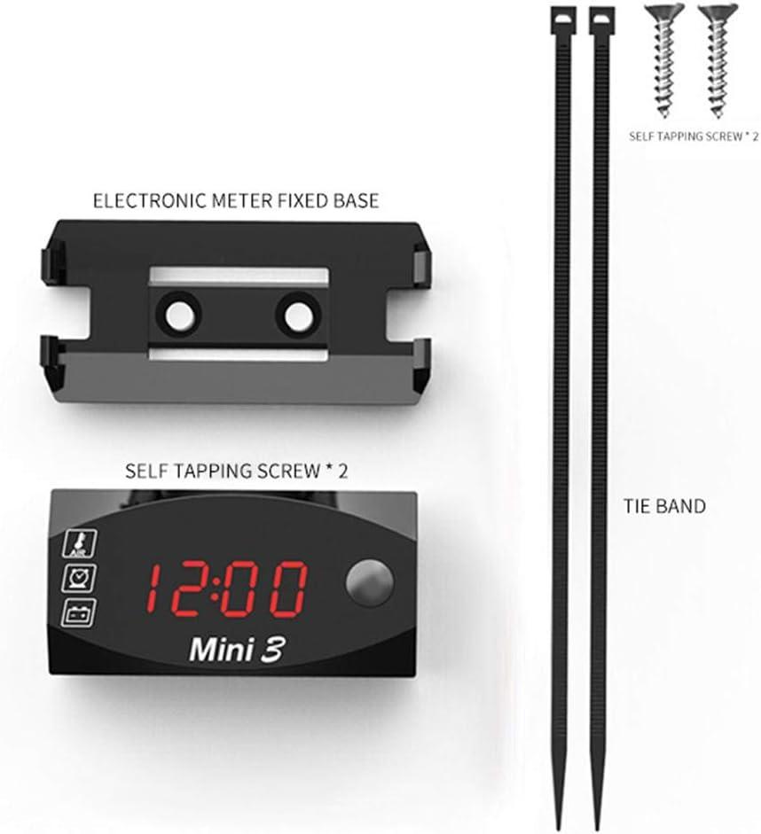 indicatore pannello indicatore 3 in 1 Voltmetro per termometro per orologio da auto avviso lampeggiante Voltmetro per Moto IP67 impermeabile Impermeabile Voltmetro Digitale a LED per Moto Auto