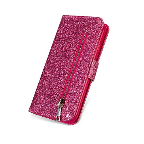 Bling Case S10e for Samsung Galaxy Note 8 9 S10 S9 S8 J4 J6 A6 Plus J3 J5 J7 A7 2018 2017 A750 Leather Flip Zipper Wallet Cover,Rose Red,for Note 9 ()
