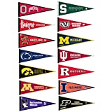 Big Ten Conference College Pennant Set includes all fourteen (14) pennants of the Conference and each measures a full size 12x30 inches. These College Pennants are perfect to decorate your office, center, home, or sports room.