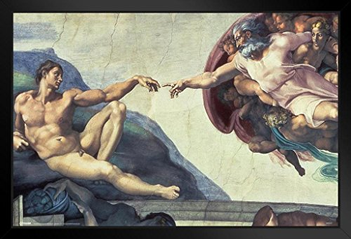(Pyramid America The Creation of Adam Michelangelo Fine Art Print Framed Poster 14x20 inch)
