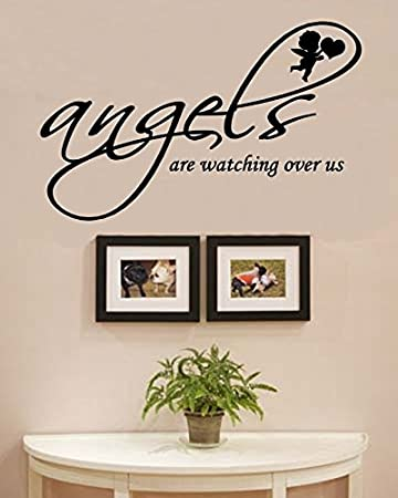 Angels are watching over us vinyl wall decals quotes sayings words art decor lettering vinyl wall