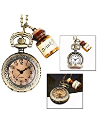 OFKP Vintage Drink Me Bottle Pocket Watch Necklace, Necklace Quartz Watch Christmas