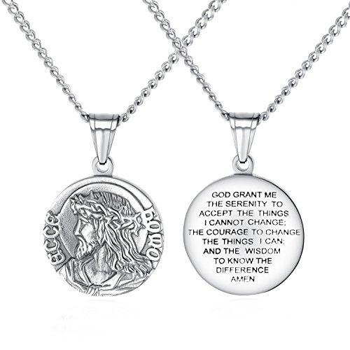 Men's Stainless Steel Jesus Christ Crown of Thorns Medallion Pendant Necklace, 24