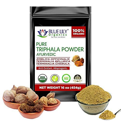 Blue Lily Organics Triphala Powder(16 oz) with Anti-oxidants & Anti-inflammatory Properties, Helps Relieve Constipation, Non-GMO and Gluten-Free Ayurvedic Vegan & Herbal Adaptogenic Supplement