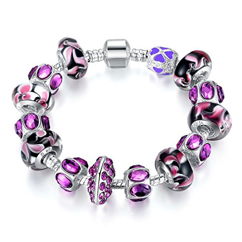 Fashion European Style Silver Charm Bracelet With Purple Murano Glass Beads DIY Fashion Jewellery PA1319 20CM Length