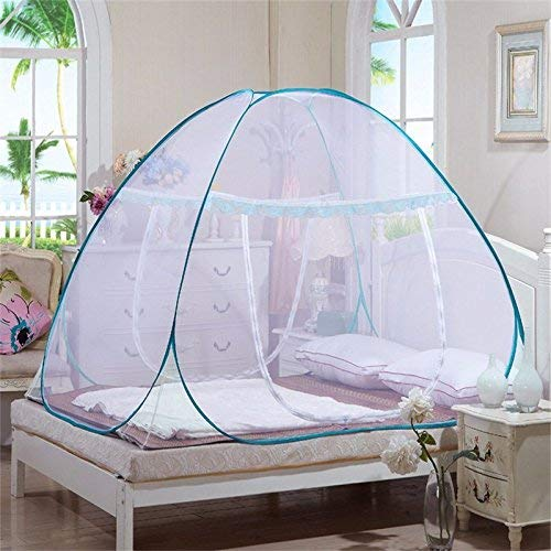Royal Double Bed Foldable Mosquito Net with Border (Blue) product image