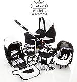 Chilly Kids Matrix II Cochecito de bebé combinado 3 en 1 - Cochecito de bebé y silla de paseo (protección contra la lluvia, mosquitero, adaptador de asiento de coche,