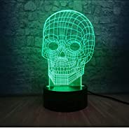 Bedside Table Lamps Skull Head Mischief 3D LED USB Terror Theme Party Decoration Scary Gift Horrible Atmospher