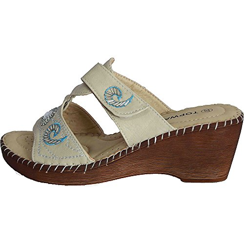 Women's Wedge Jewel Sparkle Summer Sandal Peep Toe Mules Slip On Shoe NEW B705110 TtmC6Zy