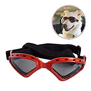 PETLESO Large Dog Goggles Sunglasses UV Goggles Goggles Golden Retriever Goggles -Red