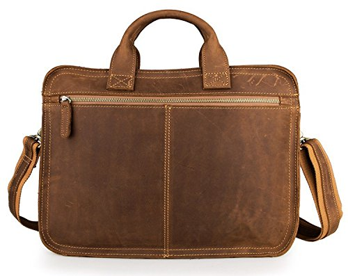 Color : Brass, Size : L Lydianzishangwu Mens Briefcase Vintage Crazy Horse Leather Mens Bag Leather Briefcase Tote