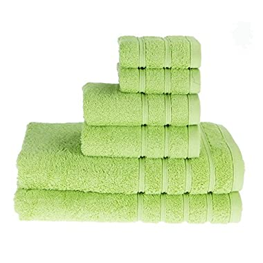 PROMIC 100% Cotton Bath Towel Set ,6 Piece Includes 2 Bath Towels, 2 Hand Towels, and 2 Washcloths, Green