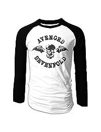 Men's Avenged Sevenfold A7X Rock Band Deathbat Long Sleeve Raglan T-Shirt