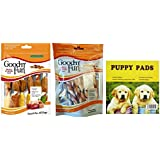 Bundle Good'N'Fun Kabobs and Twists Variety Pack. Long Lasting Entertaining Dog Calming Snacks for Your Favorite Pet. Puppies Love Em! Also Includes a Dependable Puppy Pad.