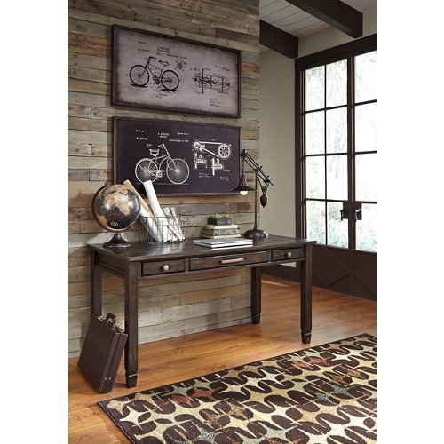 Townser Home Office Desk Grayish Brown/Traditional (Pine Pewter Pulls)