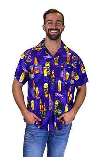 Funky Hawaiian Shirt, Beerbottlepurple, - Beer Hawaiian
