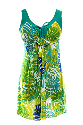 NoNoCat Flower Printing Modest 1 Piece Swimwear Cover Up swimdress Plus Size for Women2XL(US 18W- 20W), Greenbanana