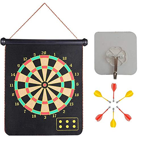 MiDenso Magnetic Dart Board with 6 Dart 1 Suction Cup for Hang up Office Home Indoor Outdoor Funny Toy Games for Kids Adults Double Sided Roll up Dartboard Set Cool Present for Him, 12 Inch Dart Big Drink Cup