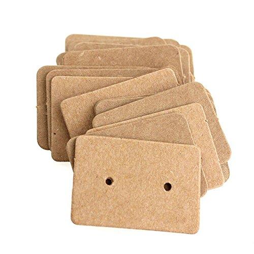 (AKOAK 100 Pcs 2.5 x 3.5 Cm Brown Kraft Paper Earring Display Hang Cards Ear Studs Display Hang)