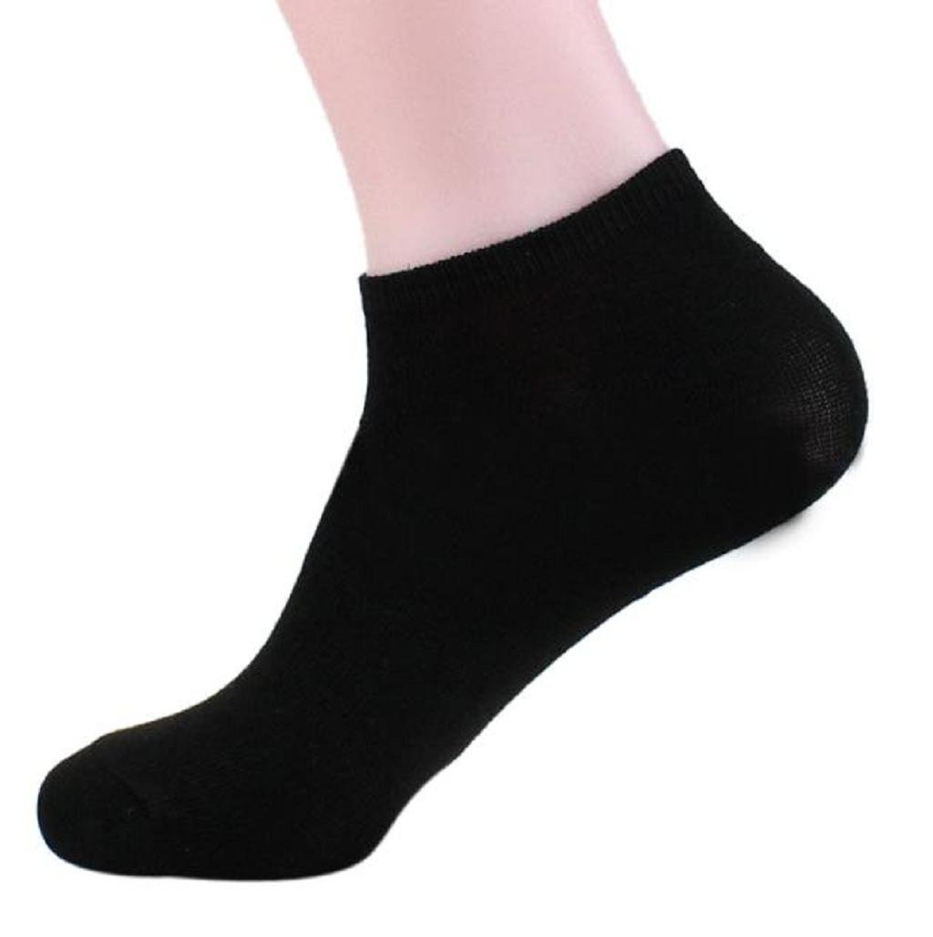 Sannysis Hombres calcetines de algodón, Deportes calcetín corto (Negro)