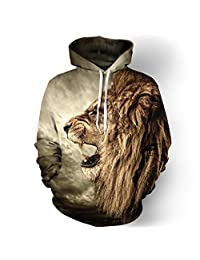 Unisex 3D Animal Printed Hooded Sweatshirt Casual Pullover Hoodie with Big Pockets