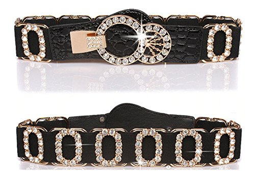 Stretch Belt for Women Luxury with Rhinestone Amiveil Stretch Waist Belts