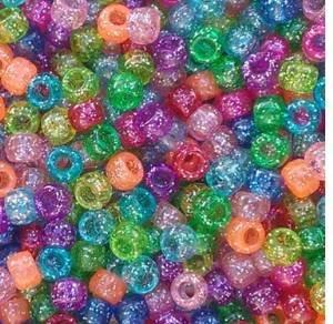 Rainbow Glitter Multicolor Mix Plastic Pony Beads 6x9mm, 500 Beads Bulk Bag