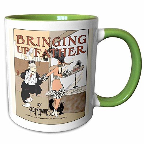3dRose 777images Designs Cartoons - Copy of a 1919 cartoon comic book cover of Bringing Up Father with Maggie and Jiggs Series 3 - 11oz Two-Tone Green Mug (mug_151950_7)