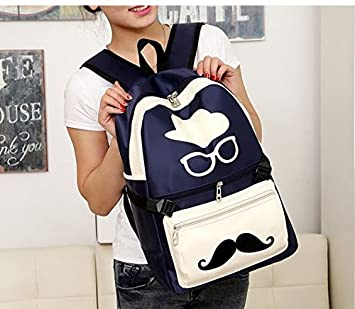 bba902a7cf Unisex Boys And Girls Fashion Funny Style Mr Moustache Patterned PU Leather  Leisure Backpack Funky Outdoor Backpack Hot Hiking Backpack Travel ...
