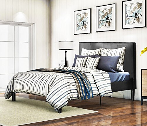 Harper&Bright Designs�Faux Leather Platform Bed with Wood Slat Support Bed Frame Foundation with Upholstered Headboard (Full)