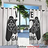 homehot Gamer Outdoor Blackout Curtains We Love Gaming Quote Greyscale Controller Design with Heart in The Middle Outdoor Privacy Porch Curtains W120 x L84 Charcoal Grey White
