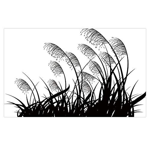 Cheap  iPrint 3D Floor/Wall Sticker Removable,Black and White,Silhouette of Bushes Wild Plants Wheat..
