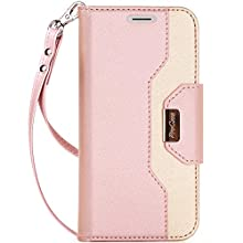 ProCase iPhone Xs/iPhone X Wallet Case, Flip Kickstand Case with Card Slots Mirror Wristlet, Folding Stand Protective Cover for 5.8 inch Apple iPhone Xs (2018) / iPhone X (2017) -Pink