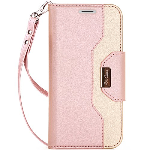 ProCase iPhone X Wallet Case, Flip Kickstand Case with Card Slots Mirror Wristlet, Folding Stand Protective Cover for Apple iPhone X / iPhone 10 (2017 Release) -Pink