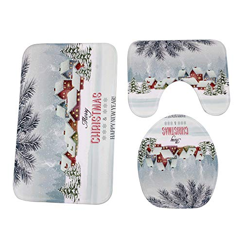 - Barthylomo 5 Piece Set Christmas Potty Toilet Seat Cover Toilet Mat, Non-Slip Pedestal Rug + Toilet Lid Covers + Bath Mat Set, Extra Soft Shower Bathroom Contour