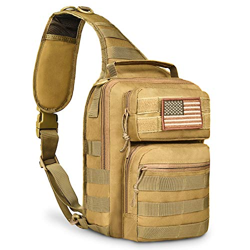 CVLIFE Tactical Sling Bag Pack Military Rover Shoulder Sling Backpack Molle Range Bag EDC Small Day Pack with Padding Pocket
