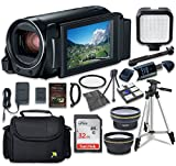 Canon VIXIA HF R82 Camcorder with Sandisk 32 GB SD Memory Card + LED Light + Extra Accessory Bundle