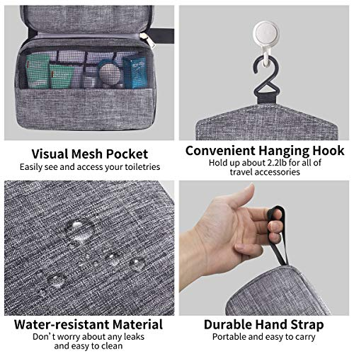 Travel Toiletry Bag Dopp Kit, Waterproof Hanging Toiletries Shaving Organizer Hygiene Bag for Women Men Compact Portable Gym Shower Bathroom Toiletry Storage Bag (Gray)