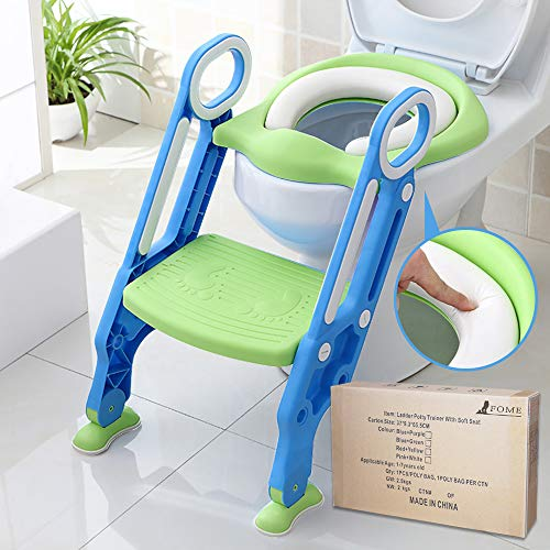 Potty Training Seat for Kids, ITOY&IGAME Toilet Seat for Potty Training Step Trainer Ladder Toilet Training Potty Seat Sturdy Comfortable Built In Non-Slip Steps soft Pad for Baby Boys Girls