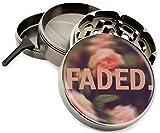 Faded Floral 4 Piece Zinc Titanium Premium Quality Herb Grinder 2.5'' Vintage Roses Flowers Pink Diamond Grind