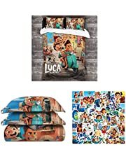 Luca Bed Set-Comes with 50pcs Luca Stickers, Three-Piece Luca Cover Set, Luca Bedding Set, Gifts for Kids and Birthday, Chrismas