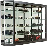 Glass Display Cabinet, Illuminated, Angled Front, Locking Sliding Glass Doors, Ships Fully Assembled