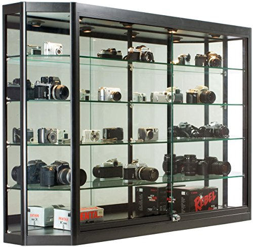 Displays2go 60 x 39.5 Inch Glass Illuminated Showcase for Wall Mount, Locking Sliding Doors, Aluminum Construction - Black (WC603912BK)
