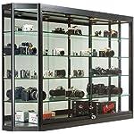 "Displays2go 60"" W x 39.5"" H Glass Illuminated Showcase for Wall Mount, Locking Sliding Doors, Aluminum Construction – Silver (WC603912BK)"