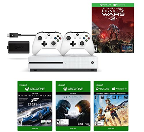 Xbox One S 1TB Console - Halo Wars 2 Bundle + Play & Charge Kit + Xbox White Wireless Controller + 3 Digital Games